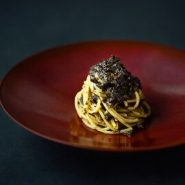 黒トリュフたっぷりのキノコのラグーソース&スパゲッティ