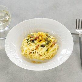 ズッキーニとドライトマトのタリオリーニ  〜ゴルゴンゾーラチーズ風味、カラスミ添え〜